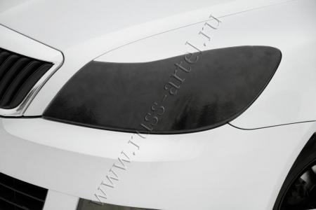 Skoda-Octavia (седан) 2008—2013-Накладки для самостоятельного изготовления ресничек на передние фары-глянец (под покраску)